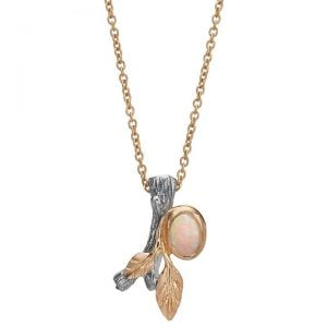 Twig and Leaf Opal Pendant Rose Gold