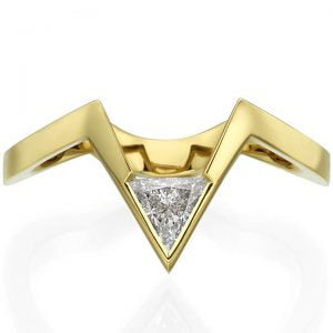 Triangle Diamond V Shaped Engagement Ring Rose Gold
