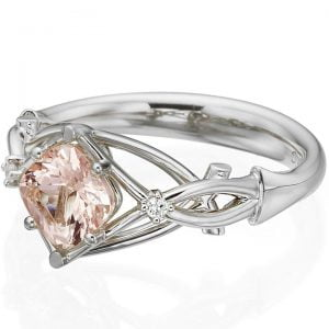 Celtic Engagement Ring Yellow Gold and Cushion Morganite 9