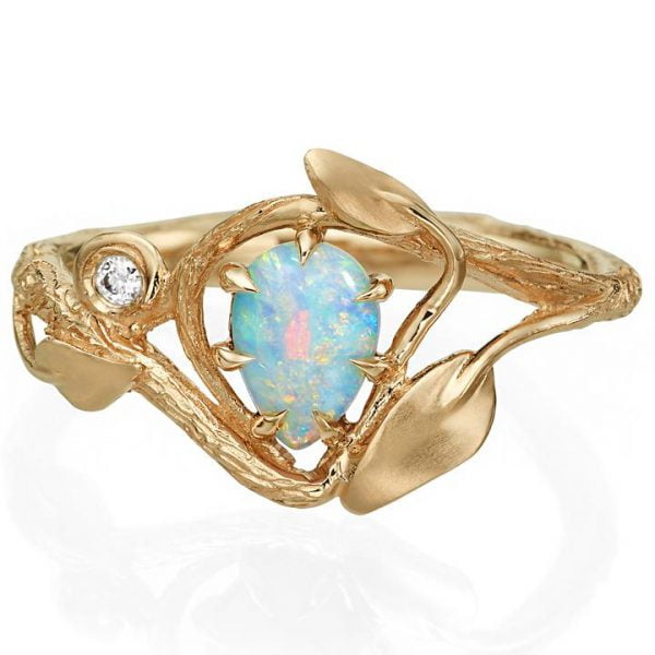a7452c7473ed60 Twig and Leaves Opal Engagement Ring Rose Gold 3 - Doron Merav