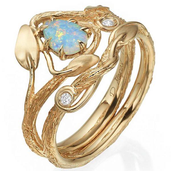 7f94ff82b0223c Twig and Leaves Opal Bridal Set Rose Gold 3 - Doron Merav