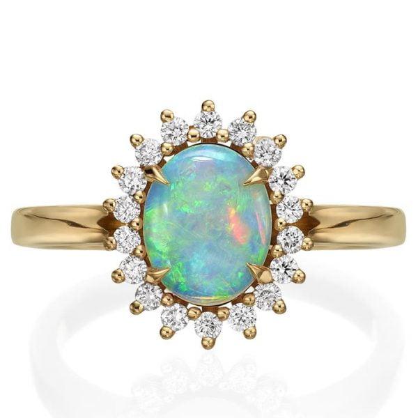 82c19115366b3c Opal and Diamonds Diana Engagement Ring Rose Gold - Doron Merav