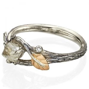 Raw Diamond Twig Engagement Ring Platinum 31