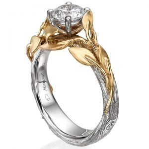 Twig and Leaf Engagement Ring Yellow Gold and Moissanite 4