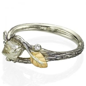 Raw Diamond Twig Engagement Ring Platinum 31