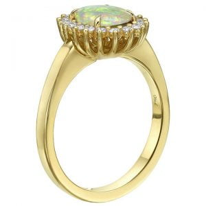 Opal and Diamonds Diana Engagement Ring Yellow Gold