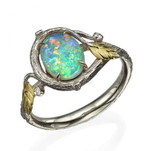 Twig and Leaves Opal Ring Yellow Gold 31