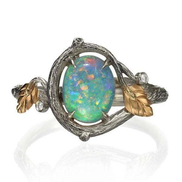 b9601cb5dae6f5 Twig and Leaves Opal Ring Rose Gold 31 - Doron Merav