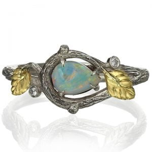 Twig and Leaves Pear Opal Ring Rose Gold 31