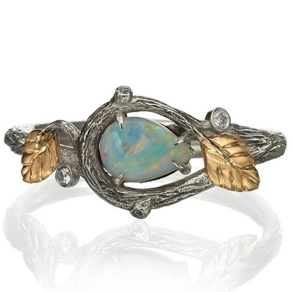 4dcba6206f79d4 Twig and Leaves Pear Opal Ring Rose Gold 31 - Doron Merav