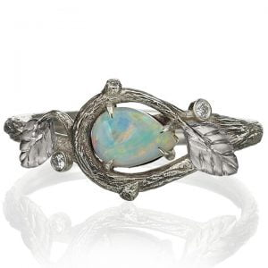 Twig and Leaves Pear Opal Ring White Gold