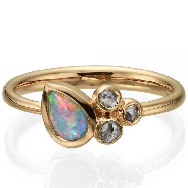 0841d8f30af7f0 Opal and Raw Diamonds Rose Gold Ring 7 - Doron Merav