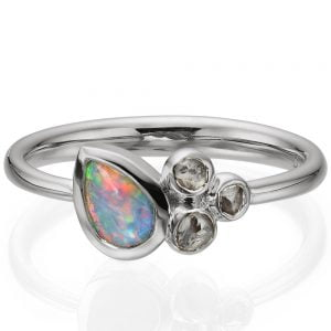 Opal and Raw Diamonds White Gold Ring 7