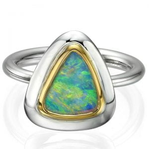 Two Tone Opal Ring Rose Gold and White Gold