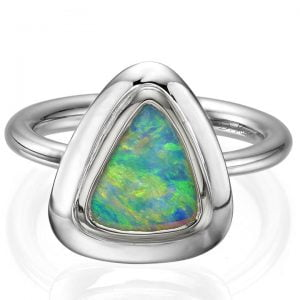 Opal Ring White Gold