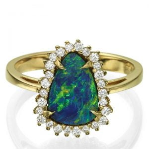 Black Opal and Diamonds Rose Gold Ring