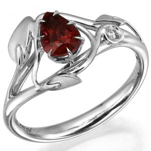 Leaves Engagement Ring Platinum and Pear Cut Ruby