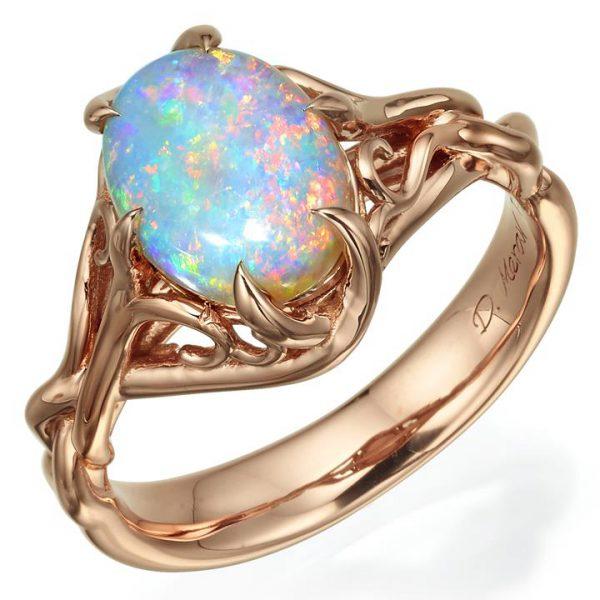 bbc962fa6aaa51 Opal and Diamonds Celtic Engagement Ring Rose Gold 10 - Doron Merav
