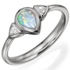Opal and Diamonds White Gold Ring 11