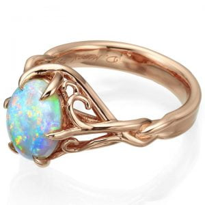 Opal Celtic Engagement Ring Rose Gold 10