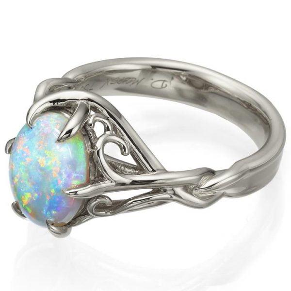 fe068edd528cc3 Opal and Diamonds Celtic Engagement Ring Platinum 10 - Doron Merav
