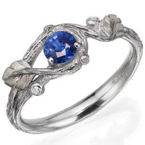 Twig and Leaf Engagement Ring Platinum and Sapphire 31