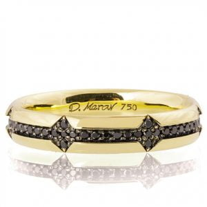 Men's Wedding Band Yellow Gold and Black Diamonds 334
