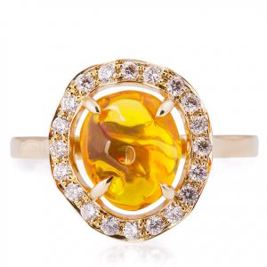Mexican Fire Opal and Diamonds Engagement Ring Yellow Gold