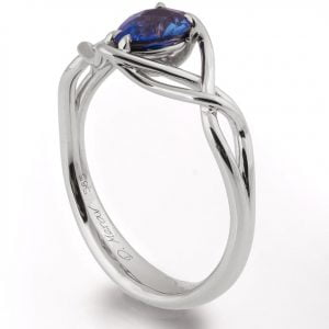 Braided Engagement Ring Platinum and Pear Cut Sapphire