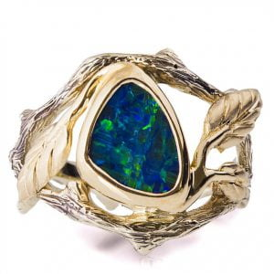 Twig and Leaf Black Opal Engagement Ring Yellow Gold 8