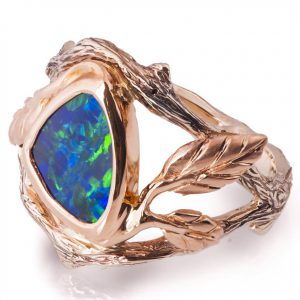 Twig and Leaf Black Opal Engagement Ring Rose Gold 8 Catalogue