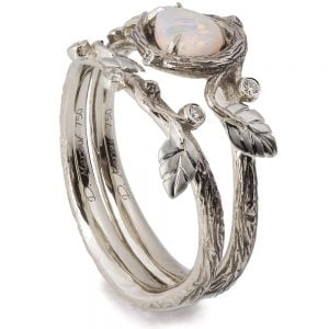 Twig and Leaves Pear Opal Bridal Set White Gold 31