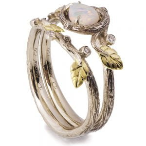 Twig and Leaves Pear Opal Bridal Set Yellow Gold 31 Catalogue