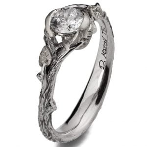 Twig and Leaf Engagement Ring Platinum and Diamond 34