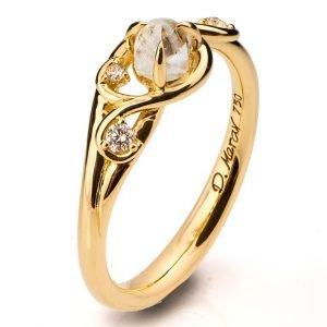 Raw Diamond Engagement Ring Yellow Gold