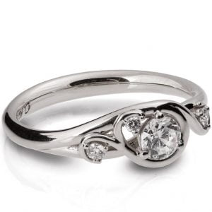 Knot Engagement Ring Platinum and Moissanite 41
