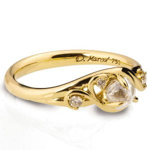 Yellow Gold Raw Diamond Engagement Ring