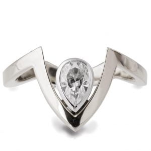 White Gold V Ring With Pear Shaped Moissanite