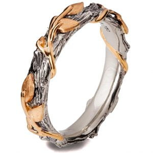 Twig and Leaves Wedding Band Platinum 13