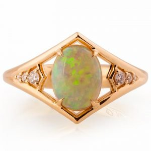 Opal and Diamonds Engagement Ring Rose Gold Catalogue