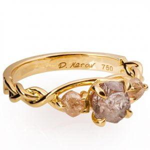 Braided Raw Diamond Engagement Ring Yellow Gold Catalogue
