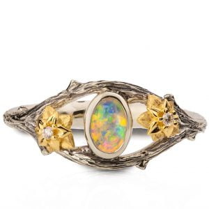 Twig and Flowers Opal Ring White and Yellow Gold