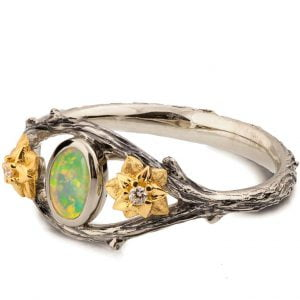 Nature Inspired Twig and Flowers Opal Ring Yellow Gold