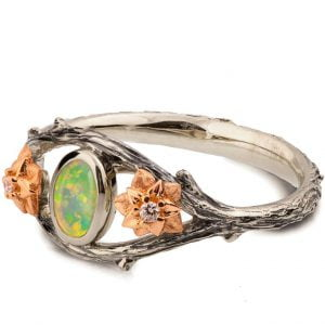 Twig and Flowers Opal Ring
