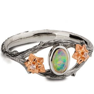 Twig and Flowers Opal Ring Platinum and Rose Gold