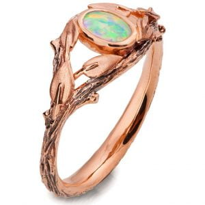 Twig and Leaves Opal Ring Rose Gold