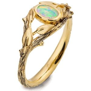 Twig and Leaves Opal Ring Yellow Gold