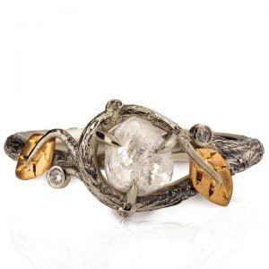 Raw Diamond Twig Engagement Ring Rose Gold