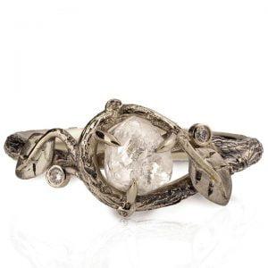 Raw Diamond Twig Engagement Ring White Gold