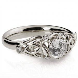 White Gold Knot Diamond Engagement Ring